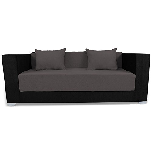 Adorn India Almond 3 Seater Sofa Cumbed (Grey & Black)