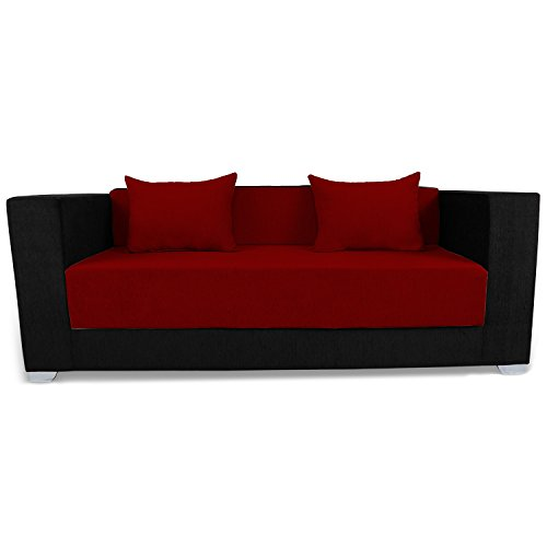 Adorn India Almond 3 Seater Sofa Cumbed – Maroon & Black
