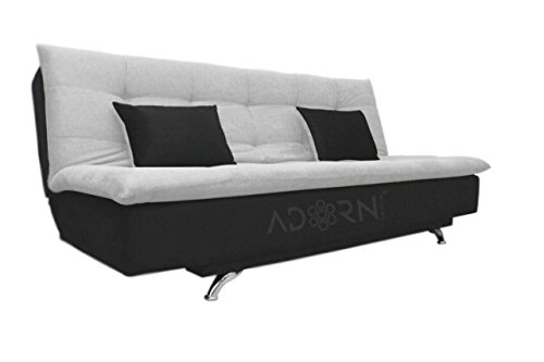 Adorn India Aspen Three Seater Sofa cum Bed – Black and Grey