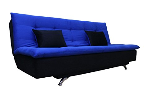 Adorn India aspen three seater sofa cum bed – Blue and Black