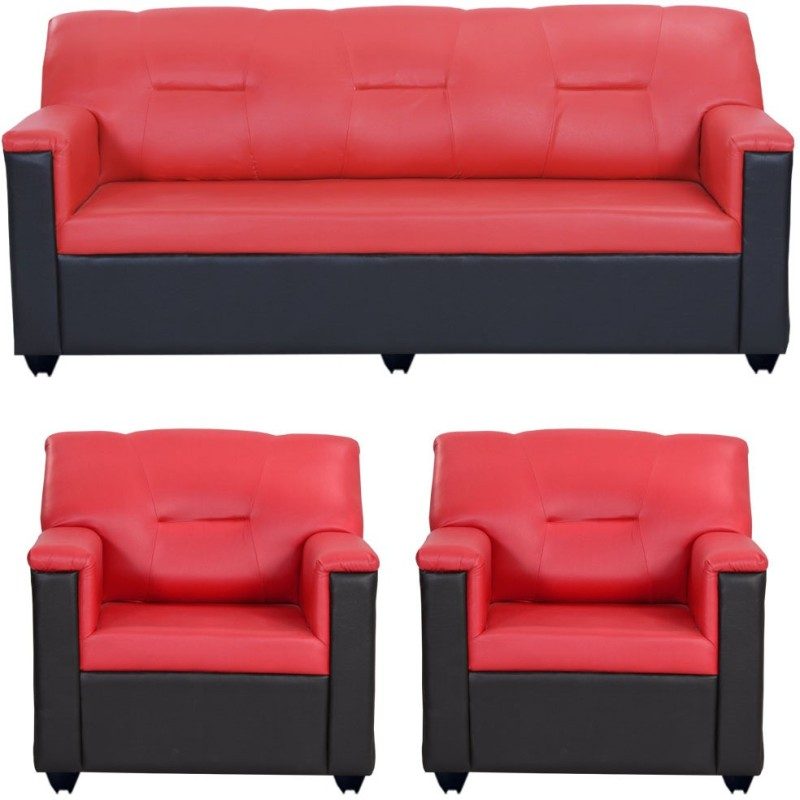 Bharat Lifestyle Expresso Leatherette Sofa Set, 3 + 1 + 1 – Red Black