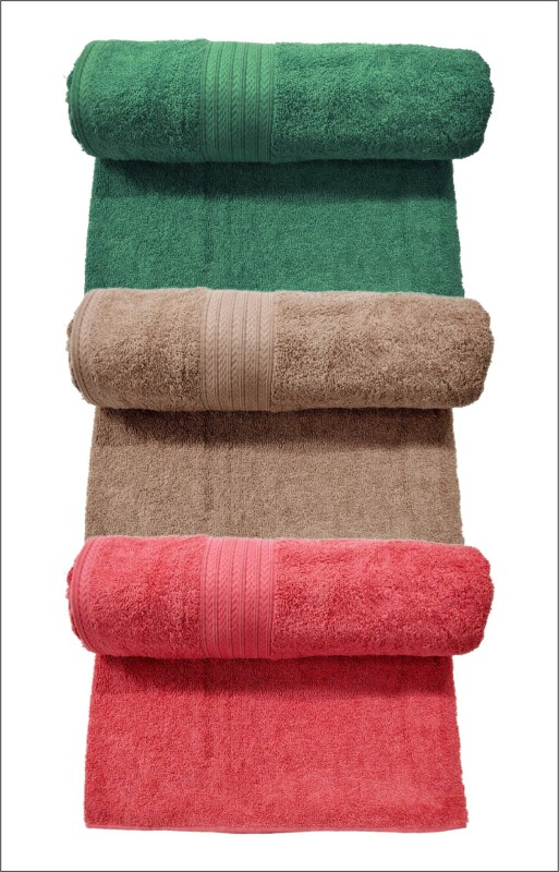 Bombay Dyeing Cotton 400 GSM Bath Towel Set  (Pack of 3) Green, Brown, Red Colors