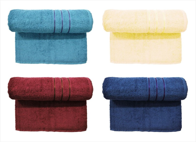 Bombay Dyeing Cotton 400 GSM Bath Towel Set (Pack of 4) Grey, Yellow, Maroon, Dark Blue Colors