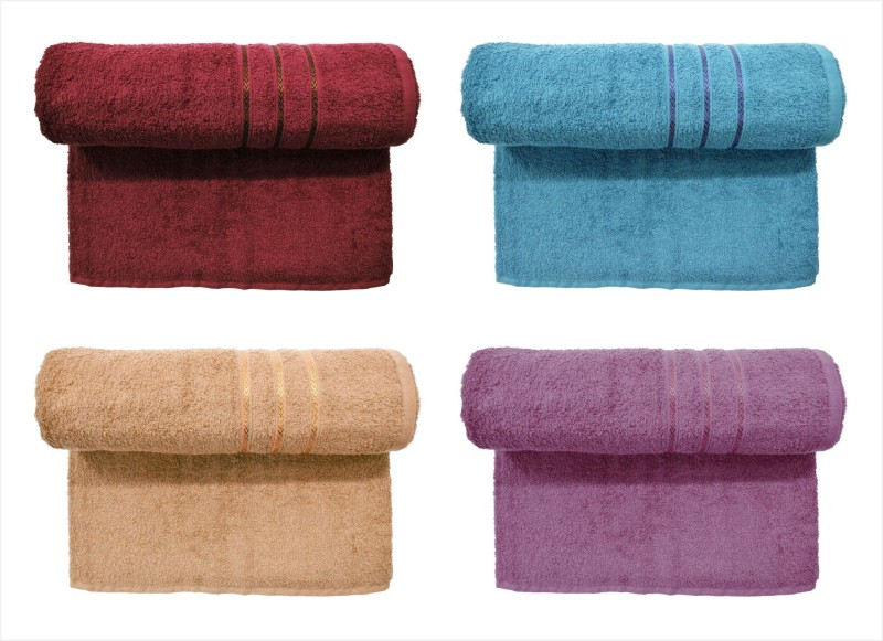 Bombay Dyeing Cotton 400 GSM Bath Towel Set (Pack of 4) Maroon, Grey, Brown and Purple Color