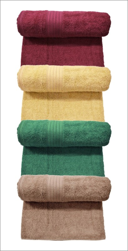 Bombay Dyeing Cotton 400 GSM Bath Towel Set  (Pack of 4) Maroon, Yellow, Green and Brown Colors