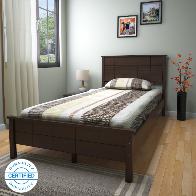 @home by Nilkamal Cipher Solid Wood Single Bed, Finish Color – Espresso