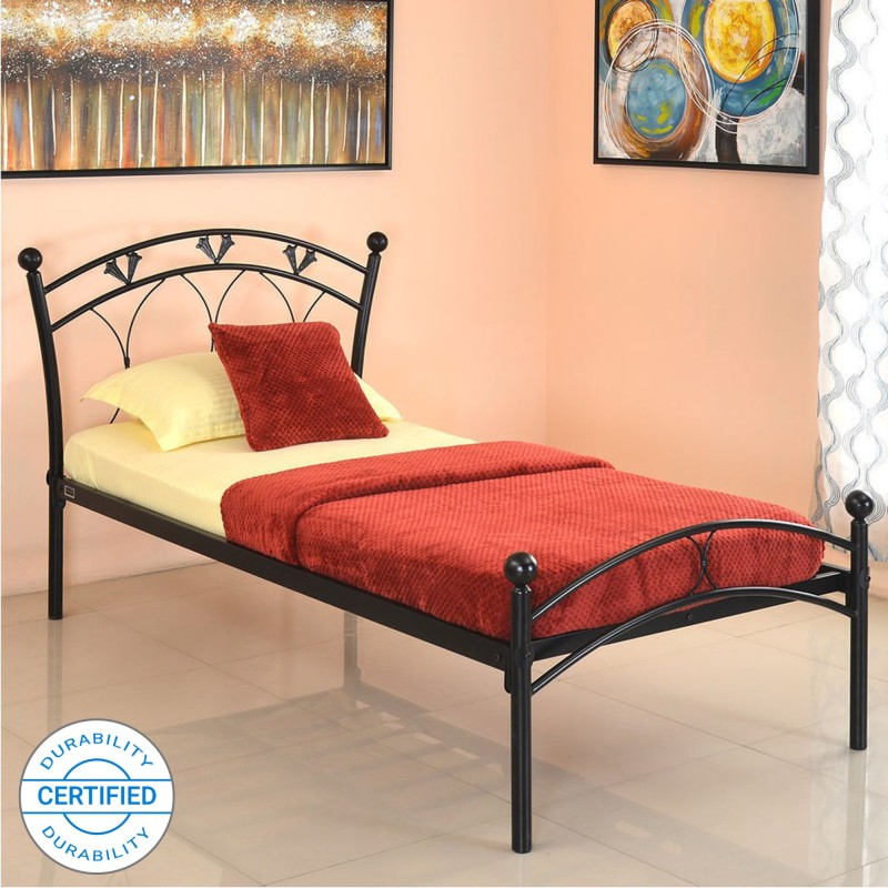 @home by Nilkamal Hydra Metal Single Bed, Finish Color – Black