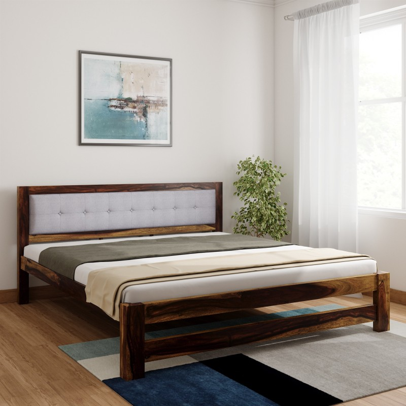 Vintej Home Kingston Sheesham Solid Wood King Bed  Finish Color – Provincial Teak