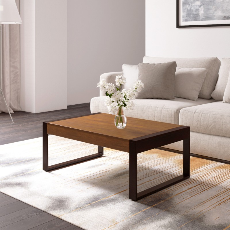 Flipkart Perfect Homes PureWood Mango Coffee Table, Finish Color – Teak and Mahogany