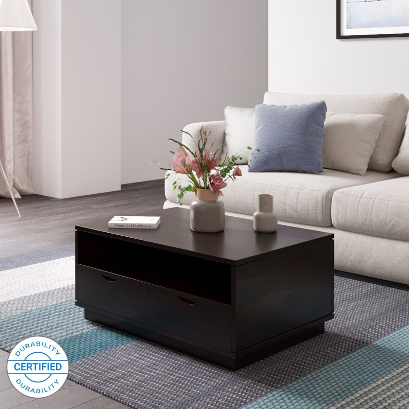 Flipkart Perfect Homes PureWood Mango Coffee Table, Finish Color – Walnut