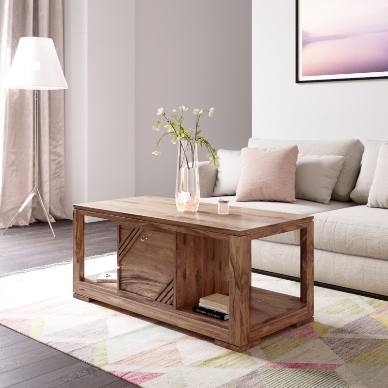 Flipkart Perfect Homes PureWood Sheesham Coffee Table, Finish Color – Natural Teak