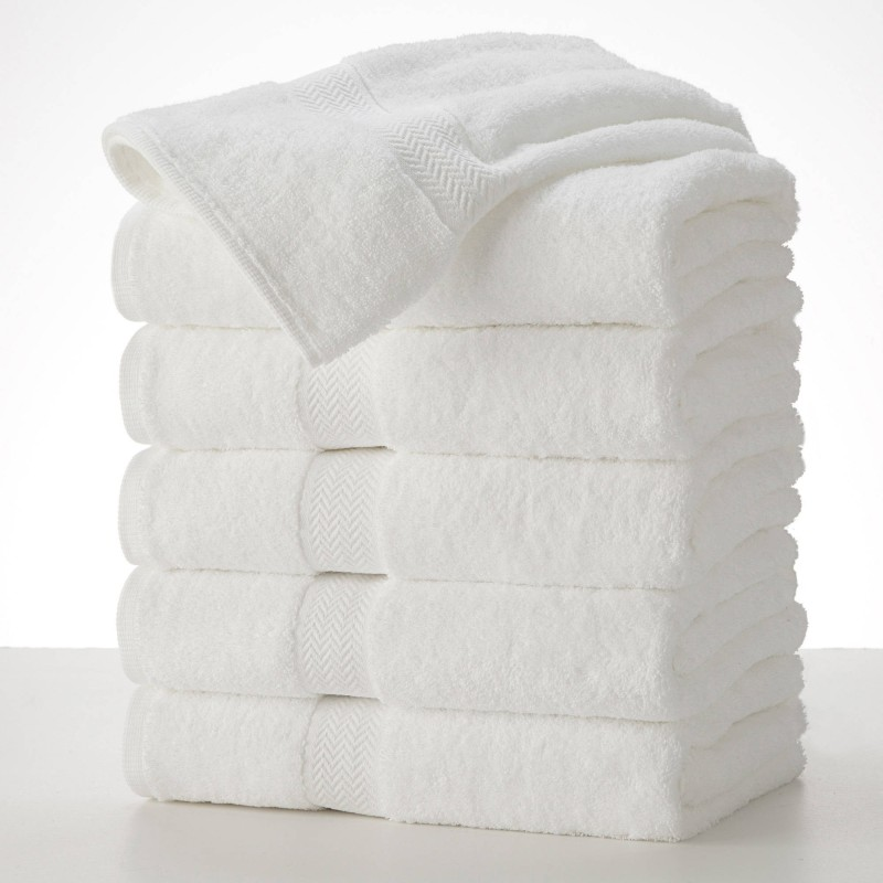 SHOP BY ROOM Cotton Terry 300 GSM Hand Towel – Pack of 5 (White)
