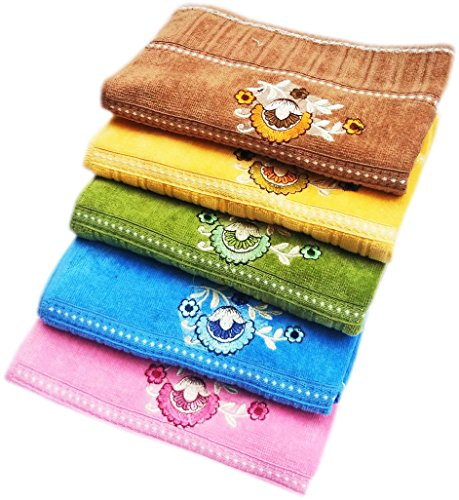 Space Fly Embroidered Cotton 400 GSM Hand Towel Set – Pack of 5 (Brown, Green, Pink, Blue, Yellow)