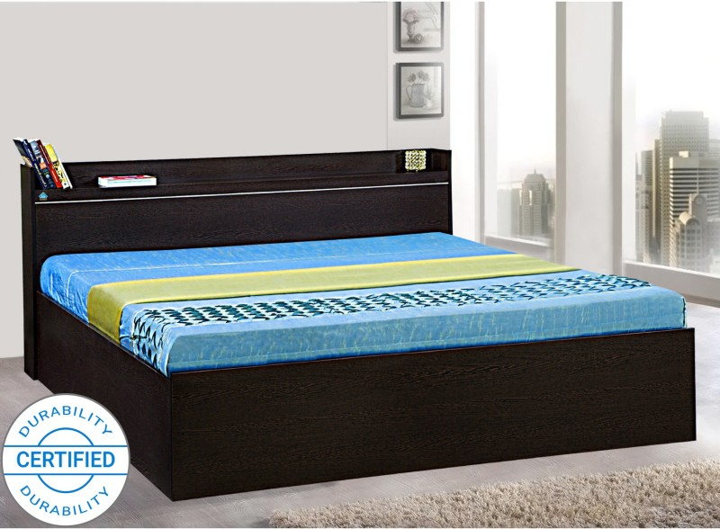 Delite Kom Plum Engineered Wood Queen Box Bed  (Color – Flowery Wenge)