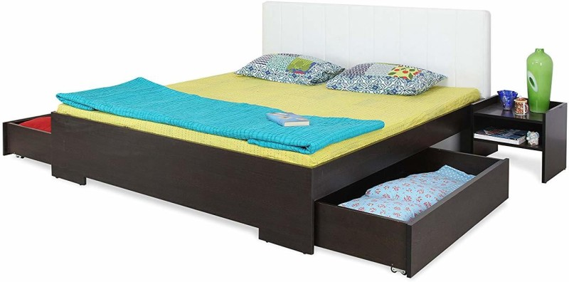 Forzza Troy King Size Bed with 2 Storage Drawers (Finish Color – Black)