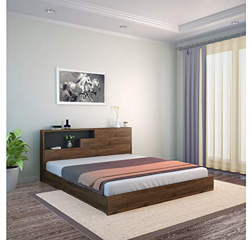 @home by Nilkamal Borden King Size Engineered Wood Bed with Headboard Storage  (Finish Color – Wenge)