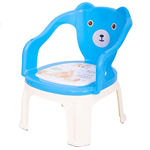 BAYBEE Portable Small Soft Cushion Plastic Chair for Kids Upto 30 Kg ( Color Blue)