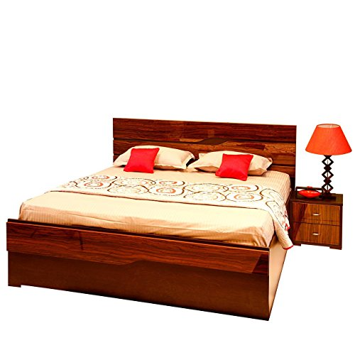 EVOK Olympus King Size Bed with Storage (Finish Color – Brown)