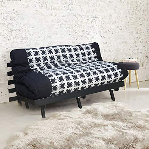 @home by Nilkamal Double Futon Sofa Cum Bed (Finish Color – Dark Black)