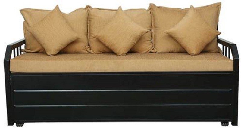Royal interiors Three Seater Sofa Cum Bed With Hydraulic Storage (Color – Light Brown and Black)