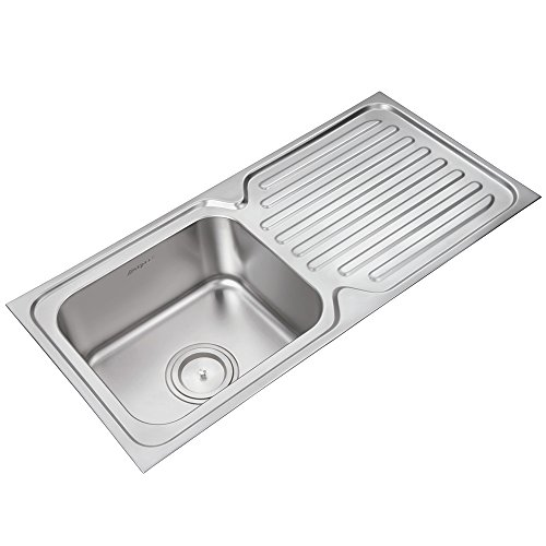 Anupam 203A, 304 Grade Stainless Steel Single Square Bowl Kitchen Sink (37x18x8 Inch), Satin/Matt Finish