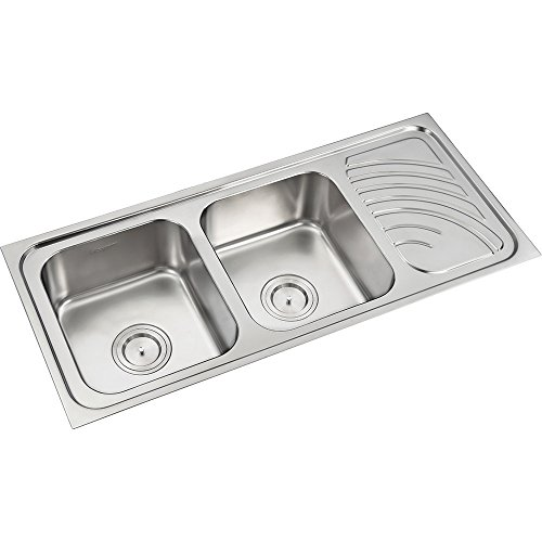 Anupam 322, 304 Grade Stainless Steel Double Square Bowl with Drain Board Kitchen Sink (45 x 20 x 8 Inch), Satin/Matt Finish