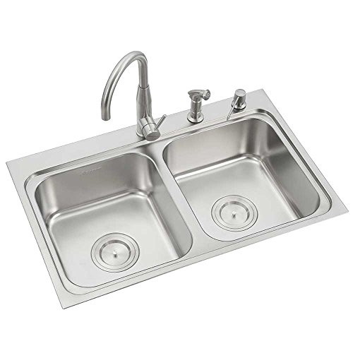 Anupam LS336XD, 304 Grade Stainless Steel Double Square Bowl Kitchen Sink (32.5 x 21 x 8 Inch), Satin / Matt Finish