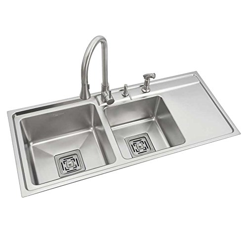 Anupam SS813XL, 316 Grade Stainless Steel Double Square Bowl with Drain Board Kitchen Sink (45x20x9 Inch), Satin/Matt Finish