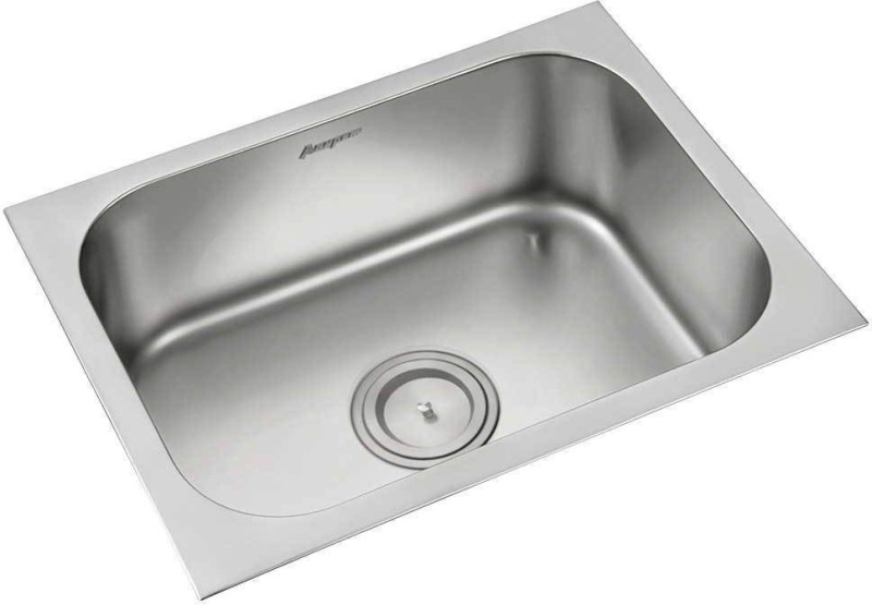 Anupam Stainless Steel Kitchen Sink 113B (610x460x225 mm/ 24x18x9 inch) Single Square Bowl 304 Grade (Stainless Steel)