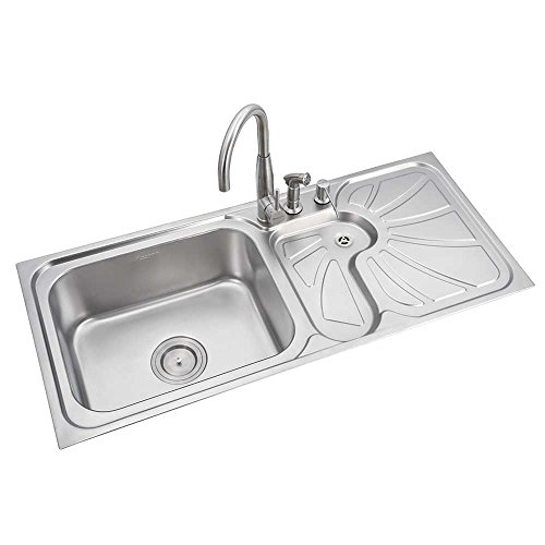 Anupam Stainless Steel Kitchen Sink LS341SL (1143x510x225 mm / 45x20x9 inch) Single Square Bowl with Drain Board 304 Grade (Satin/Matt Finish)