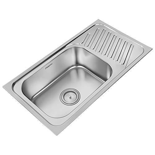 ANUPAM Stainless Steel Kitchen Sink Single Square Bowl with Drain Board 304 Grade, Satin, 36 x 20 x 8 Inch, Satin/Matt Finish