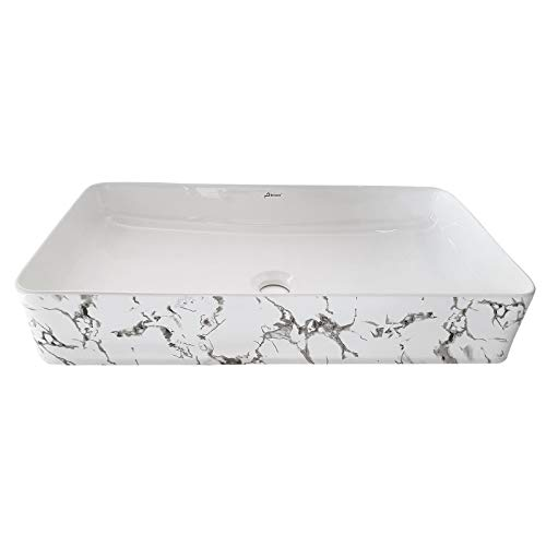 Brizzio 100 Designer White Ceramic Wash Basin  (White & Grey)