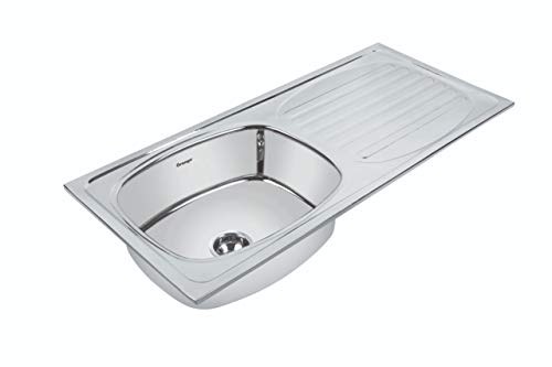 Orange Single Bowl Kitchen Sink with Drain Board 45X20X9 inch (Stainless Steel)