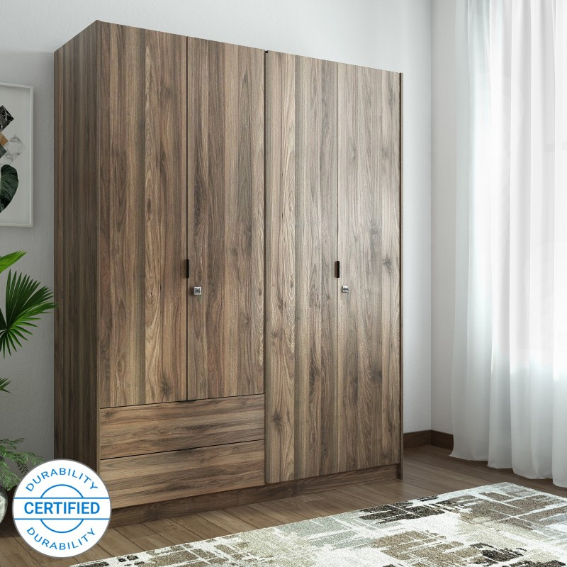 @home by Nilkamal Avery Engineered Wood 4 Door Wardrobe (Wenge)