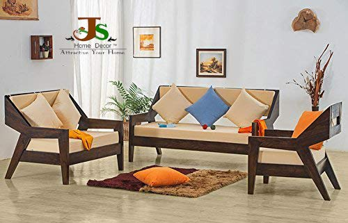 Js Home Décor Solid Rosewood/Sheesham Wood Sofa Sets 3+2+1 Seater(Walnut, Dark Brown)