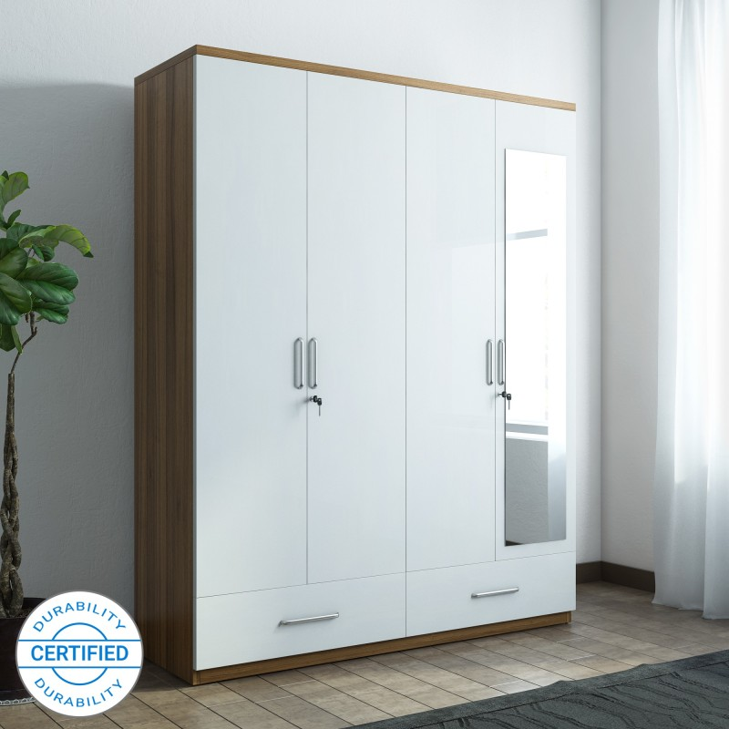 Spacewood Apex Engineered Wood 4 Door Wardrobe, Mirror Included (White)