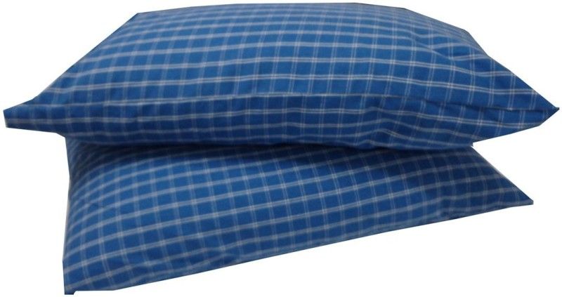 Adt Saral Checkered Pillows Cover -Pack of 2, Blue