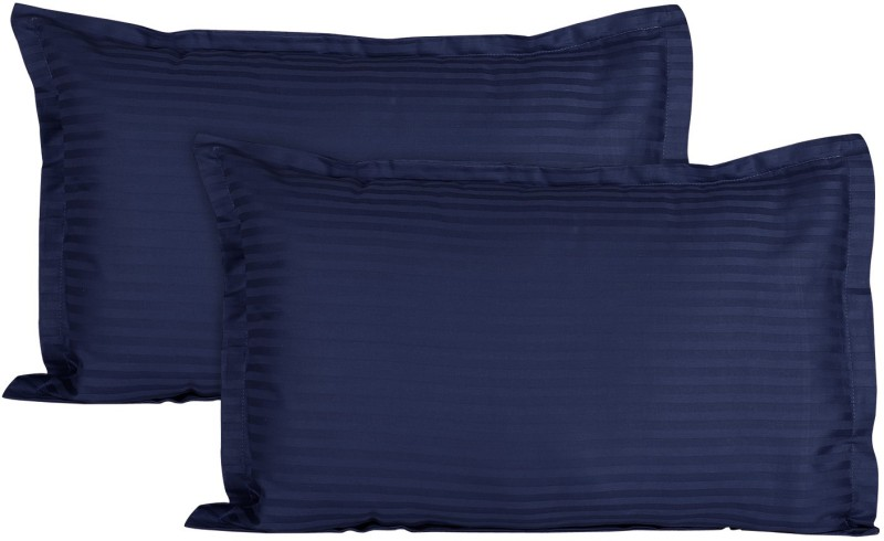 Ahmedabad Cotton Striped Pillows Cover  -Pack of 2, 45 cm, Blue