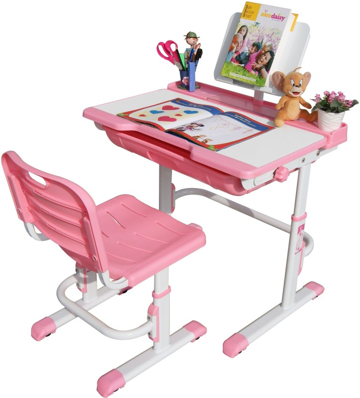 Alex Daisy Universal Metal Study Table  -Finish Color – Pink & White