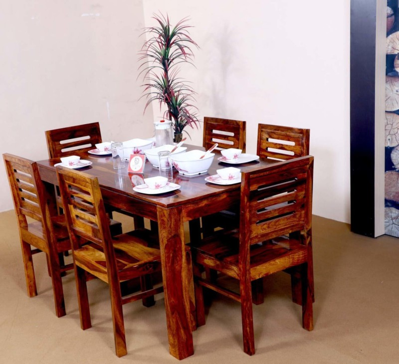 Allie Wood Sheesham Wood Solid Wood 6 Seater Dining Set  -Finish Color – Teak Finish