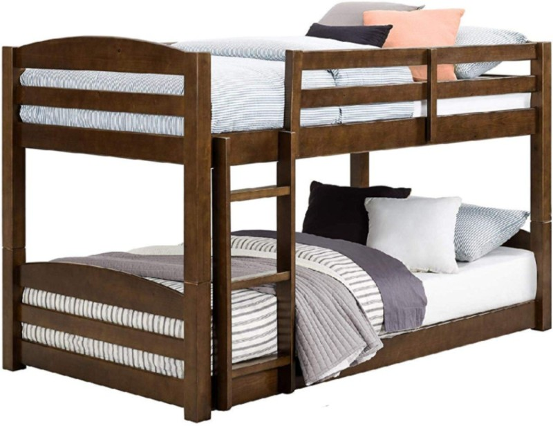 APRODZ Mango Wood Shipry Bunk Bed for Children Furniture Solid Wood Bunk Bed -Finish Color – Brown Finish