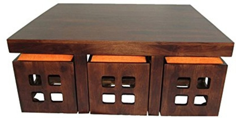 Aprodz Solid Wood 6 Seater Coffee Table Stool Set for Home (Dark-Walnut)