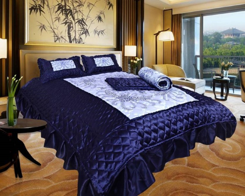 Barbican Satin Bedding Set- Blue