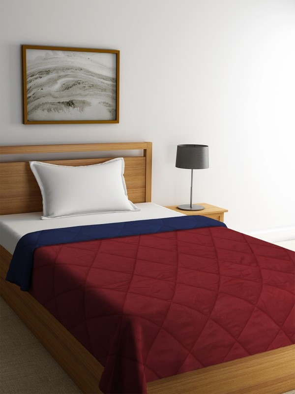 Bombay Dyeing Solid Single Comforter  -Polyester, Maroon, Blue