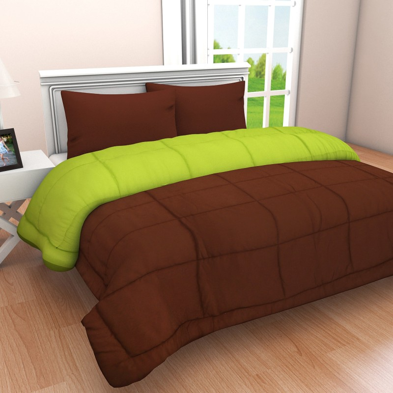 Clasiko Solid King Comforter -Cotton, Brown1, Green1