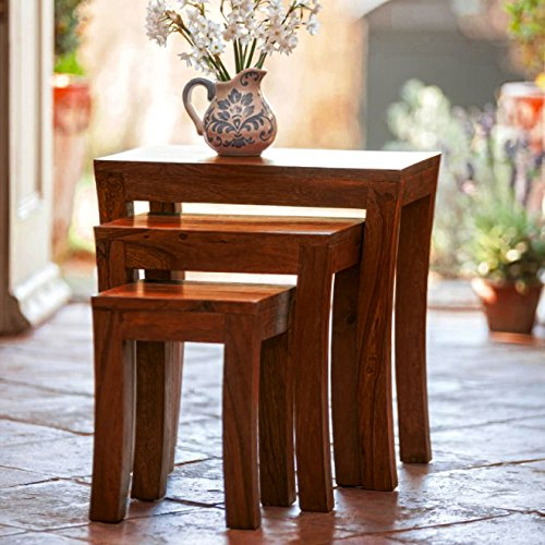 DecorNation Carissa Solid Wood Set of 3 Nesting Table (Sheesham Wood, Brown)
