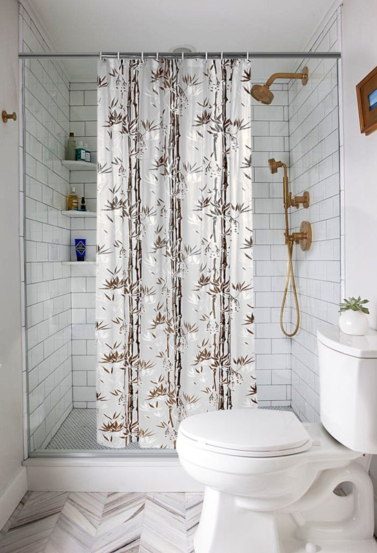 E-Retailer 213.36 cm (7 ft) PVC Shower Curtain Single Curtain -Printed, Brown
