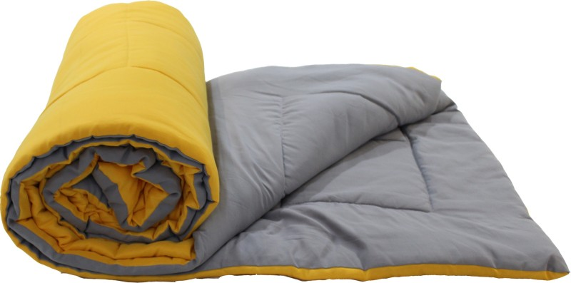 Easy Living Solid Double Comforter -Polyester, Yellow, Light Grey
