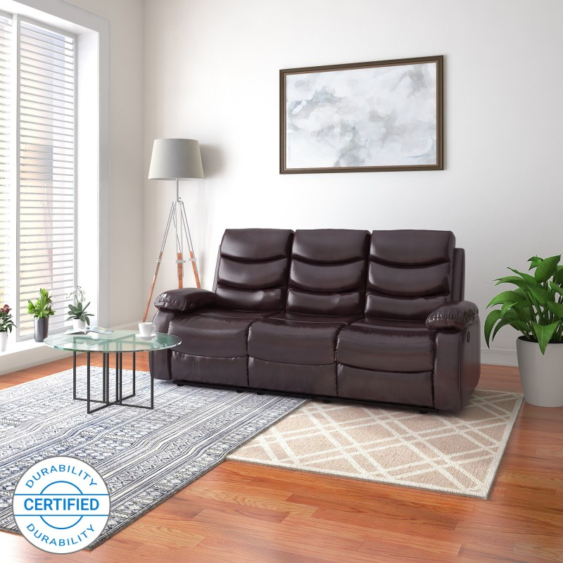 Flipkart Perfect Homes Costello Leatherette Manual Recliners  -Finish Color – Brown