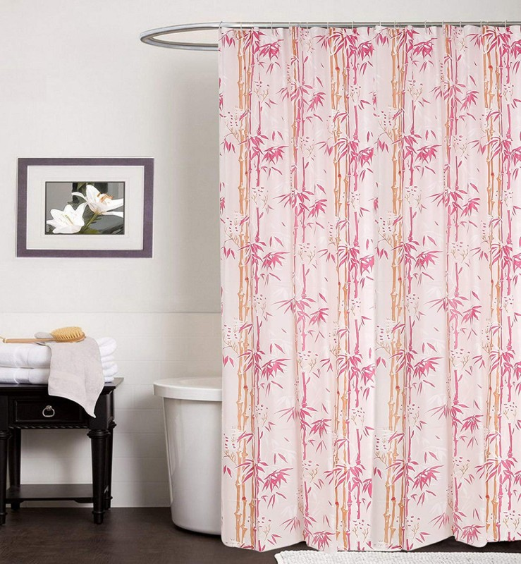 Flipkart SmartBuy 200 cm (6 ft) PVC Shower Curtain Single Curtain -Printed, Pink